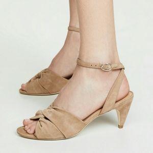 NWT Joie Mallison Camel Suede Kitten Heel Sandals